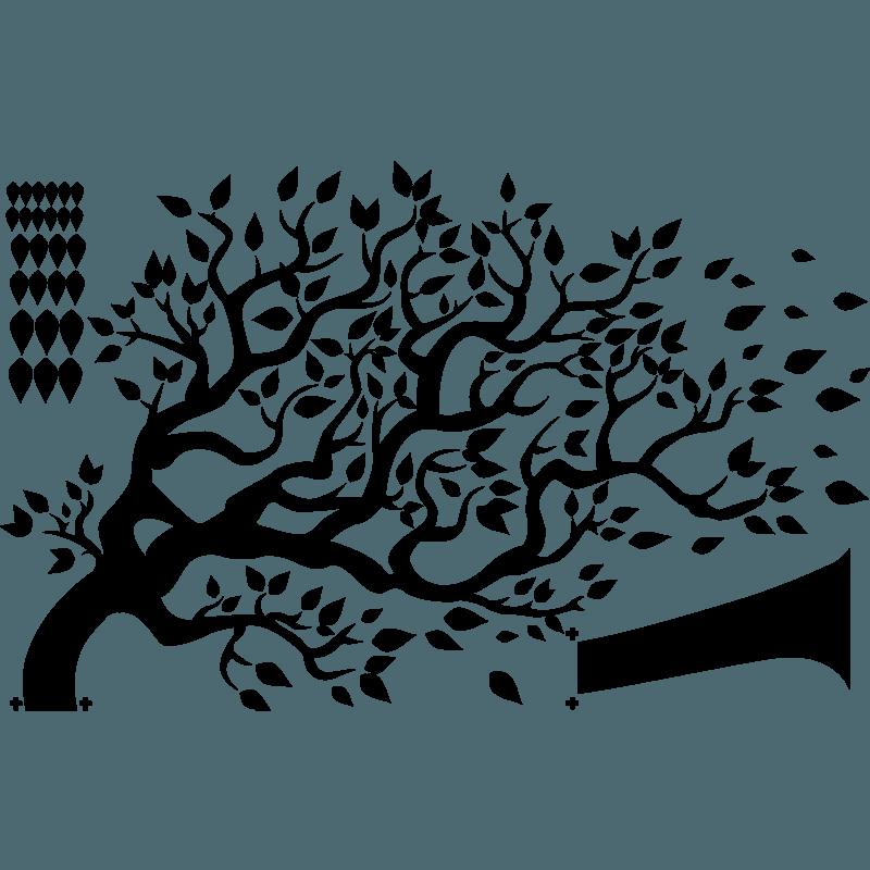 Наклейка Дерево на ветру на стену